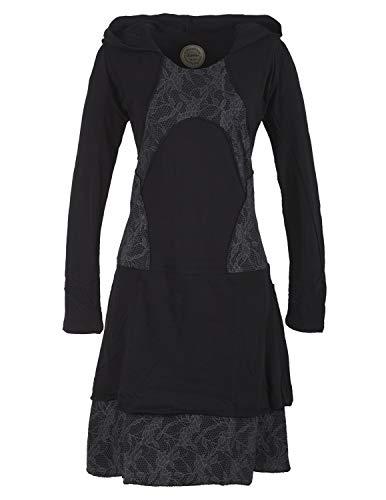 Vishes - Alternative Bekleidung - Damen Langarm Lagenlookkleid aus Baumwolle mit Zipfelkapuze schwarz 44