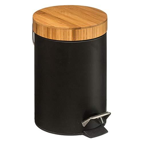 5Five EIN Mülleimer mit einem Bambusdeckel - weiß, 3 l (26 x 21 x 21 cm) (Schwarz)
