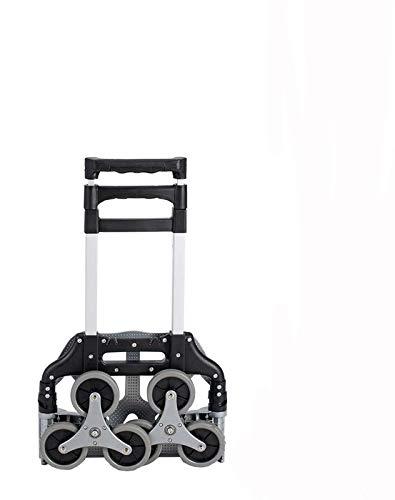QNN Escalada Aleación de Aluminio para el Equipaje de la Varilla Seis Rondas Escalada Escalada Mano Dibujar Carrito Portátil Plegable para el Hogar Cesta de la Compra/Negro