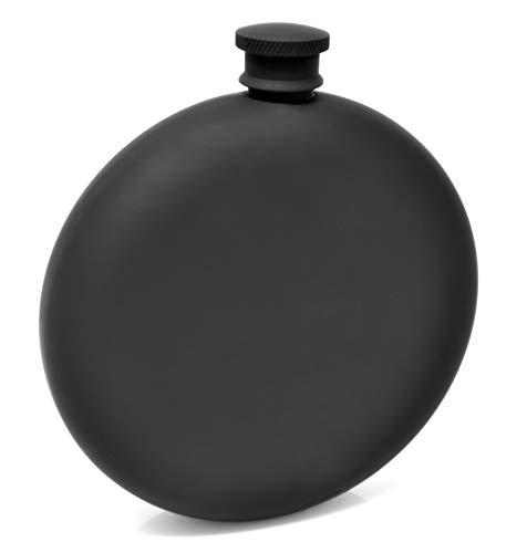 Flachmann rund für Spirituosen, 236 ml, Edelstahl schwarz mattschwarz Scharnier, auslaufsicher mit Trichter in schwarzer Box für Männer und Frauen von IDALIO