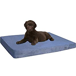 dogbed4less Orthopedic Gel Cooling Memory Foam Dog Bed for Pet, Waterproof Liner with Washable Gray Suede Cover and Extra Bonus External Case – 7 Sizes