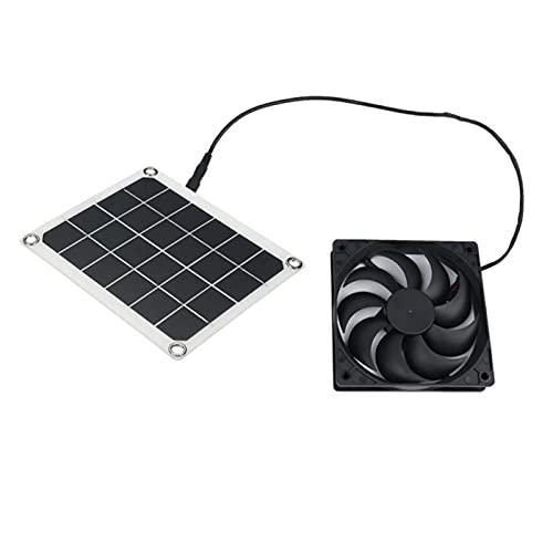 liangzai 1 0W 5V Panel solar del extractor de aire del ventilador de escape solar + Mini ventilador de 6 pulgadas Fuente de alimentación de ventilador Ajuste para perros Pollo gallinero invernadero rv