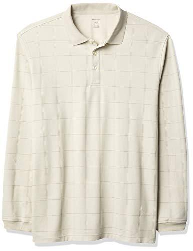 Van Heusen Big and Tall Flex Long Sleeve Jaspe Windowpane Polo Shirt Camisa, Pelícano, XXL para Hombre