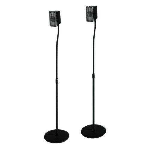 Hama Lautsprecherständer 2er-Set (Boxenständer höhenverstellbar bis max. 123 cm, rutschfest, je 5 kg belastbar, versteckte Kabelführung) Schwarz
