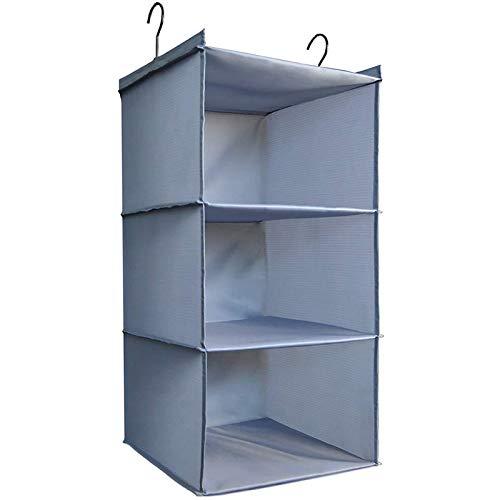 DonYeco Hanging Closet Organizer, Easy Mount Foldable 3-Shelf Hanging Closet Wardrobe Storage Shelves, Clothes Handbag Shoes Accessories Storage, Washable Oxford Cloth Fabric, Gray