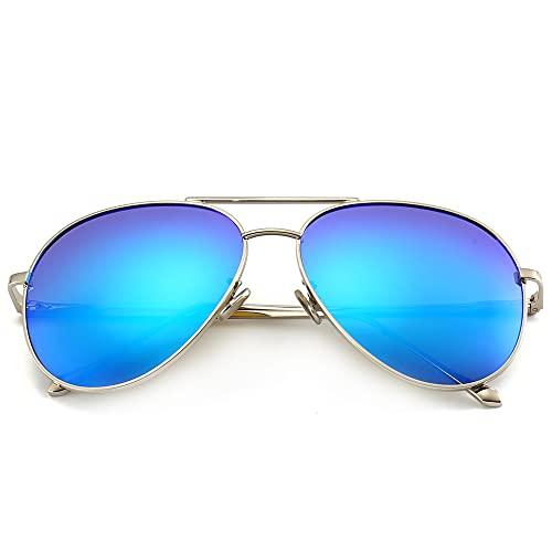 occhiali a specchio donna SUNGAIT Occhiali da Sole Oversize Leggero di Moda per Donna - Specchio Polarizzato Lente Silver Frame / Ocean Blue Specchio Lens