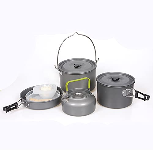 DAGCOT Utensilios para Hoguera 5-7 Persona Al Aire Libre Camping Utensilios de Cocina Set Picnic Bowl Kettle Pan Pot Set Outdoor Camping Cookware Mochileros de Utensilios de Cocina
