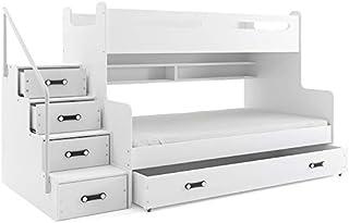 Interbeds Lit 3 Places Max 3 200x80 et 200x120 avec Matelas sommier tiroir et escalier (Blanc+Blanc)