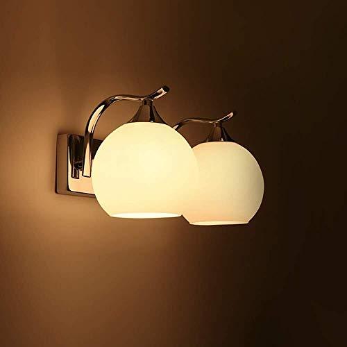 Duurzame eenvoudige en stijlvolle wandlamp glas lampenkap metalen wandlamp naar beneden twee enkele hoofd dubbele koplampen 3-10 vierkante meter slaapkamer studie kamer eetkamer woonkamer (Maat: S), Grootte: groot