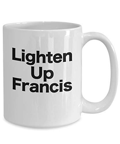 Irma00Eve Lighten Up Francis taza de café divertido regalo para amantes del cine con cita de rayas