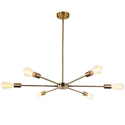 CLAIRDAI Sputnik Chandeliers 6 Lights Modern Chandelier Industrial Vintage Pendant Lighting Ceiling Light Fixture for Kitchen Dining Room Living Room (Gold 6-Light)