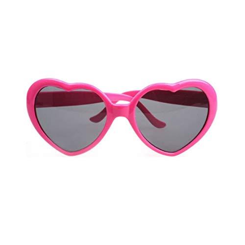Ygerbkct Gafas de Sol de Moda con Forma de corazón, Marco de plástico, Espejo UV400, Unisex, Gafas de Sol para niños y Adultos, Gafas para Viajar
