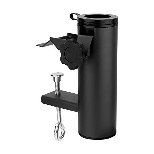 WELLGRO Schirmhalter für Balkon oder Terrasse - Stahl - schwarz - bis 38 mm (Ø) - einfache & schnelle Montage