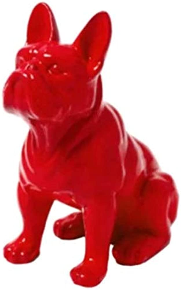 N.c, statua decorativa , motivo: bulldog francese, 30 cm, colore: rosso, in resina
