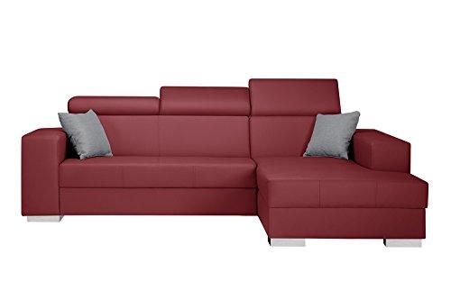 Intérieur de Famille EA-09-R-F, Canapé d'angle droit Trésor, Rouge et Gris clair, Bois,, 235 x 178 x 96 cm