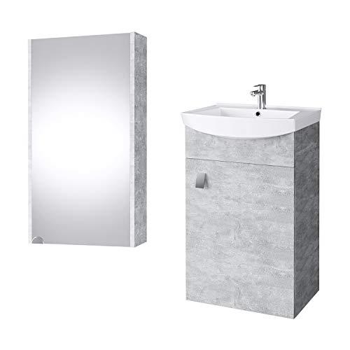 Planetmöbel Badmöbel Set Waschtisch + Waschbecken + Spiegelschrank Gäste Bad WC (Beton)