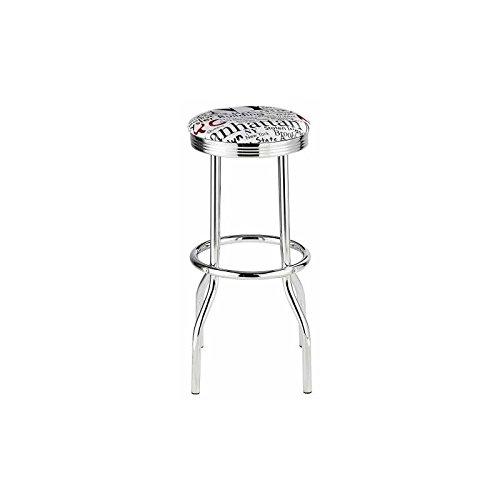 Mueblix / Conjunto 2 Taburetes Blanco Boston / Tipo Bar / Asiento de Espuma de Poliuretano de 30 kg/m3 de densidad Tapizado en PVC brillante Patas de metal cromado con tubo de 25,5 mm Medidas: Alto: 77 cm Diametro: 47 cm