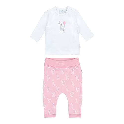 Feetje Baby-Mädchen Zweiteiliger Sweat-Anzug Giraffe, weiß-rosa, 50