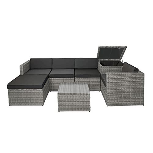 Mendler Poly-Rattan-Garnitur HWC-D21, Balkon-/Garten-/Lounge-Set Sofa Sitzgruppe, Box Staufach - grau, Kissen dunkelgrau