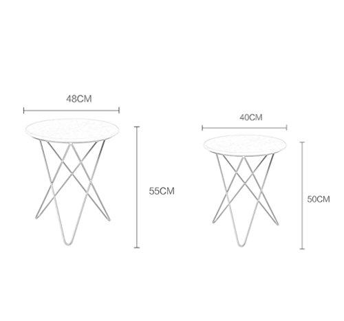 MJY Skandinavischen Steintisch einfache moderne Wohnzimmer Eisen runden Tisch runden Tisch Marmor Couchtisch Metallkante ein paar kleine Couchtisch kreative Heimat,# 4,48 * 48 * 55 cm