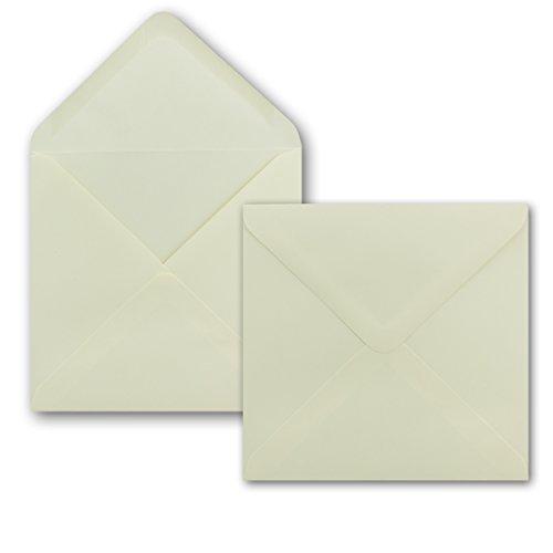 Vierkante enveloppen - 150 x 150 mm (15 x 15 cm) - 100 g/m2 - natte kleefing - merk: Gustav NEUSER® 50 Umschläge champagne