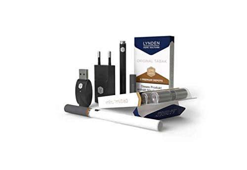 E-Zigarette, E-Shisha, LYNDEN Premium Set mit Liquid 0mg schwarz Tabak orig. Tabak No2 85mm