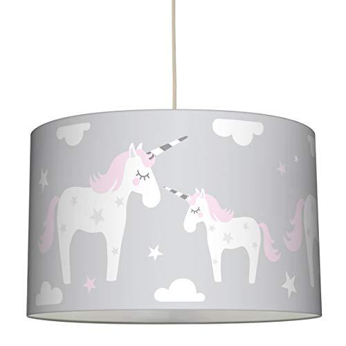 lovely label Hängelampe EINHORN ROSA/GRAU – Lampenschirm für Kinder/Baby, Schirm mit Einhörnern und Sternen – Komplette Hängeleuchte für Kinderzimmer Mädchen & Junge