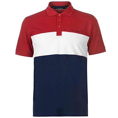 Pierre Cardin - New Season - Polo de piqué para hombre, 100% algodón, corte y costura, con cuello de piqué, con bordado de la firma rojo/azul marino L