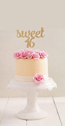 qidushop Sweet 16Birthday Cake Topper 16. BIRTHDAY CAKE TOPPER Sweet 16Tortenaufsatz, für junge Mädchen Party Geburtstag Geschenk für Damen Herren Geburtstag Party Dekorationen Gastgeschenken Topper