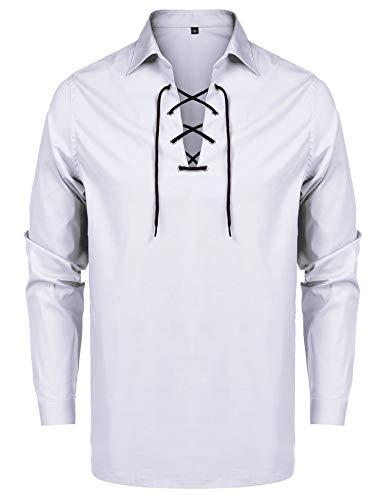 URRU Men's Scottish Jacobite Ghillie Kilt Highland Shirt Costume Shirt White L
