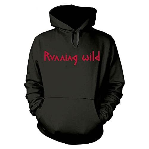 NIUNAI Mens HeavyweightHooded Running Wild Under Jolly Roger Crossbones Hoodies Pullover Sweatshirts Black s