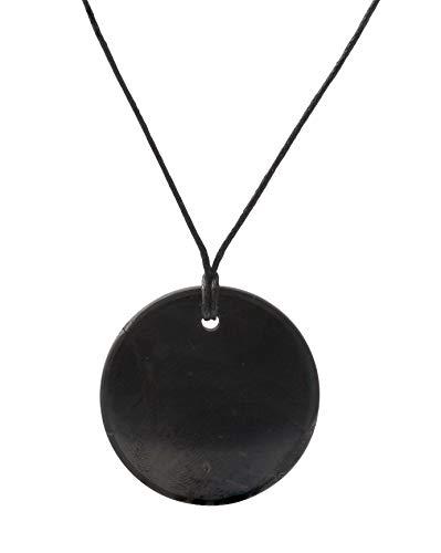 Shungit-Anhänger mit Halskette, Kleiner Kreis Dreieckiger EMF-Schutz-Anhänger | Schungitstein-Schmuck ist Trendy und Wird für Chakra- und Energieausbalancierung Verwendet | Kleiner Kreis