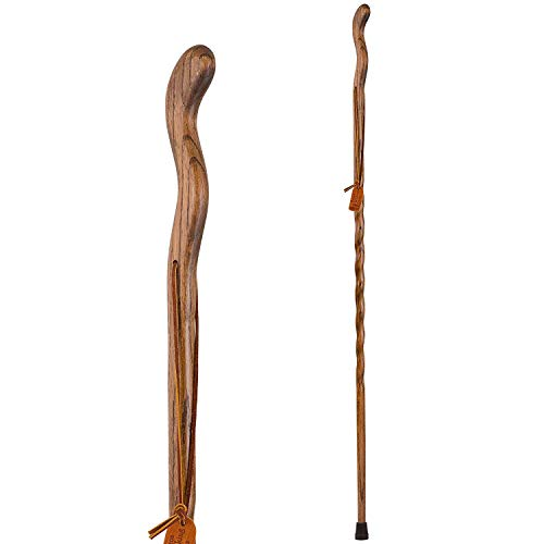 Brazos Trekking Pole Hiking Stick for Men and Women Handcrafted of Lightweight Wood and made in the USA, Brown Oak, 55 Inches