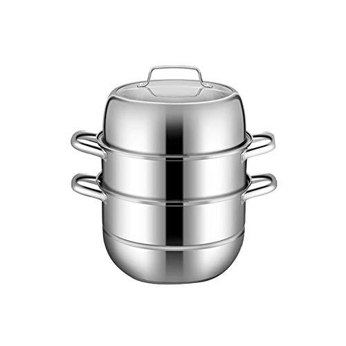 3Tier Edelstahl-Dampfgarer, mehrschichtiger Dampfgarer/Suppentopf mit Glasdeckel und polierten, hochglanzpolierten Dampfgarern 28 cm, 30 cm-28cm