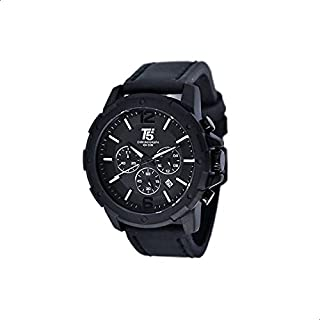 T5 H3487G-A Leather Round Analog Watch for Men - Black