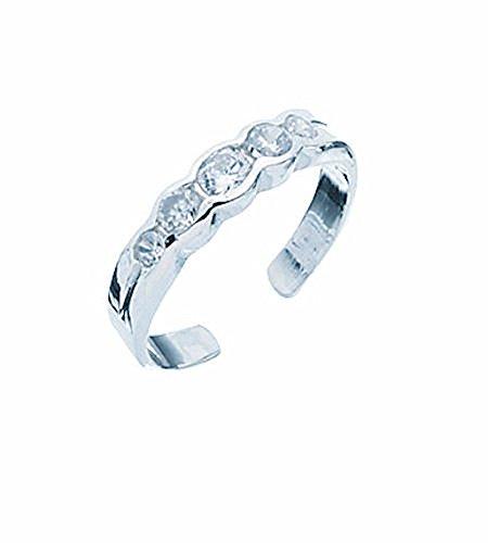 TF Anillo de dedo del pie para mujer, plata de ley 925, tamaño ajustable, con cinco piedras de circonita, ancho: 4 mm, calidad de joyero de Alemania