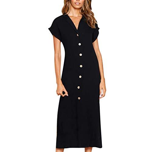 pitashe Lång skjorta för kvinnor klänning rea V-hals solid keps ärm ovanför knälängd knapp ner maxiklänning sida delad sommar lös solklänning kväll fest avslappnade klänningar (inget bälte)