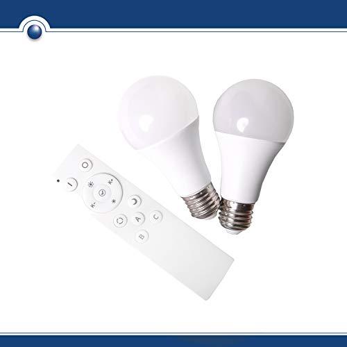 SHD LED E27 Glühbirne 2er SET mit Fernbedienung, Leuchtmittel mit Farblicht Wechsel 2700-5000K, Nachtlicht Funktion, 9 Watt, 200-800 Lumen, dimmbar