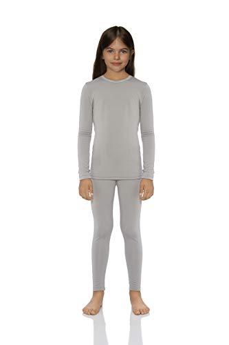 Rocky Thermal Underwear for Girls Cotton Knit Thermals Kids Base Layer Long John Pajamas Set (Grey - Large)