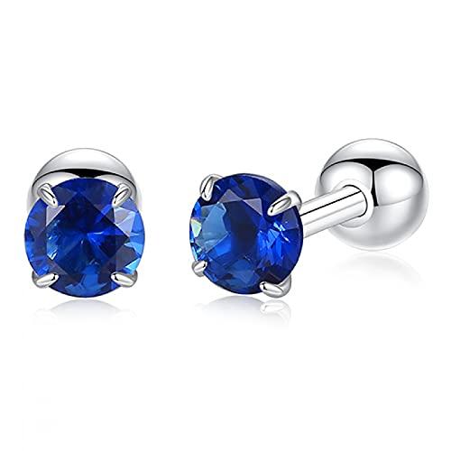 Owenqian Pendientes de botón Simples de Plata de Ley 925, Pendientes geométricos de Bola Redonda cúbica de Cristal, joyería de Boda para Mujer