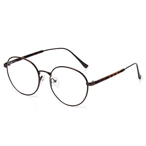 Mujeres Hombres Vintage Computer Office Round Metal Gafas Gafas Gafas Protección de los ojos Ultra Light Frame(1)