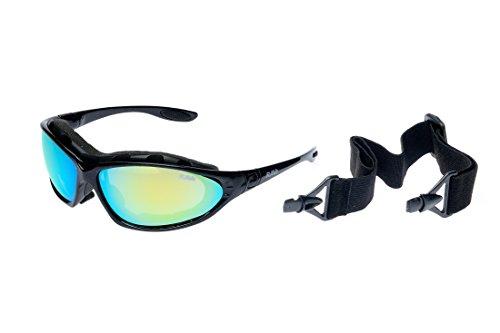 Ravs SPORTBRILLE Skibrille - Kitesurfen - RADBRILLE Sonnenbrille mit Band, BÜGEL und SOFTBAG SUPER Flash VERSPIEGELT