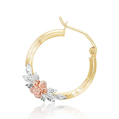 Hoberta Tricolor Rose Hoop Earrings - Real Yellow14k Gold Earring for Women & Girls - Solid Jewelry for Hypoallergenic & sensitive ears- Shiny & Round Original 14 Karat for gifts