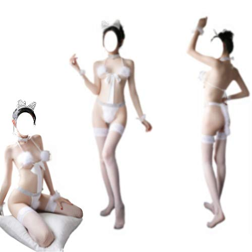 Plush Bunny Girl Women Cosplay Lencera Lovely Anime Costume Outfit, Blanco