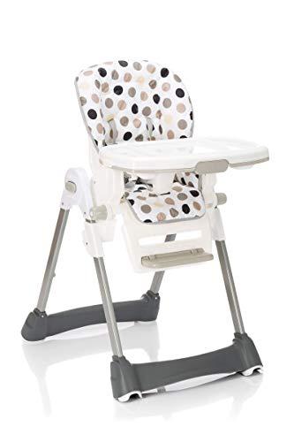 Fillikid Hochstuhl Exclusiv mit Liegefunktion | Babyhochstuhl höhenverstellbar mit abnehmbarem Essbrett | klappbarer Kombihochstuhl mit 5 Punkt-Gurt, Design:beige getupft