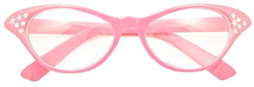 Das Kostümland - Fifties Cat Eye Brille Diamond - Rosa - Zubehör 50er 60er Jahre Party Kostüm