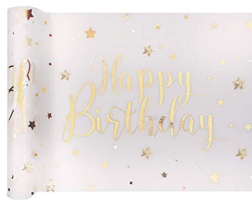 Tischband Tischläufer Happy Birthday weiß Gold 1 Stück