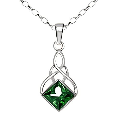 Collar con colgante celta de plata de ley y circonita verde con cadena de 45,7 cm