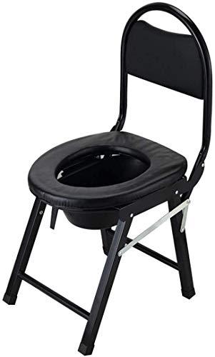 WJY Folding Commode Mietklo Sitz, Potty und Toilettenstuhl, for ermüdungsfreies Reinigung & Tragen, for Reisen, Bootfahren und Ausflüge (Color : Black)