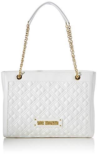 Love Moschino Precollezione ss43, Borsa Shopper da Donna PU, New Shiny Quilted, Bianco, Normal